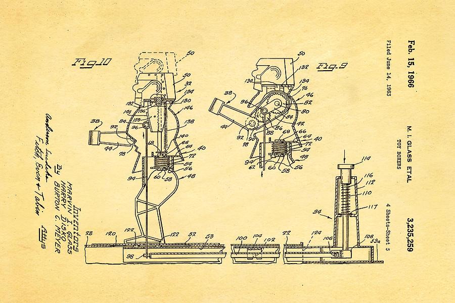 Famous Photograph - Glass Rock Em Sock Em Robots Toy Patent Art 3 1966 by Ian Monk
