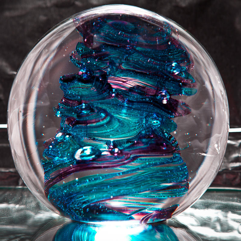 Solid Glass Sculpture/paperweight With Swirls Of Pink And A Hint White Color Sculpture - Glass Sculpture Blues And Purple Rb4 by David Patterson