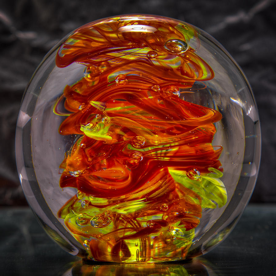 Glass Sculpture - Glass Sculpture - Fire - 13r1 by David Patterson