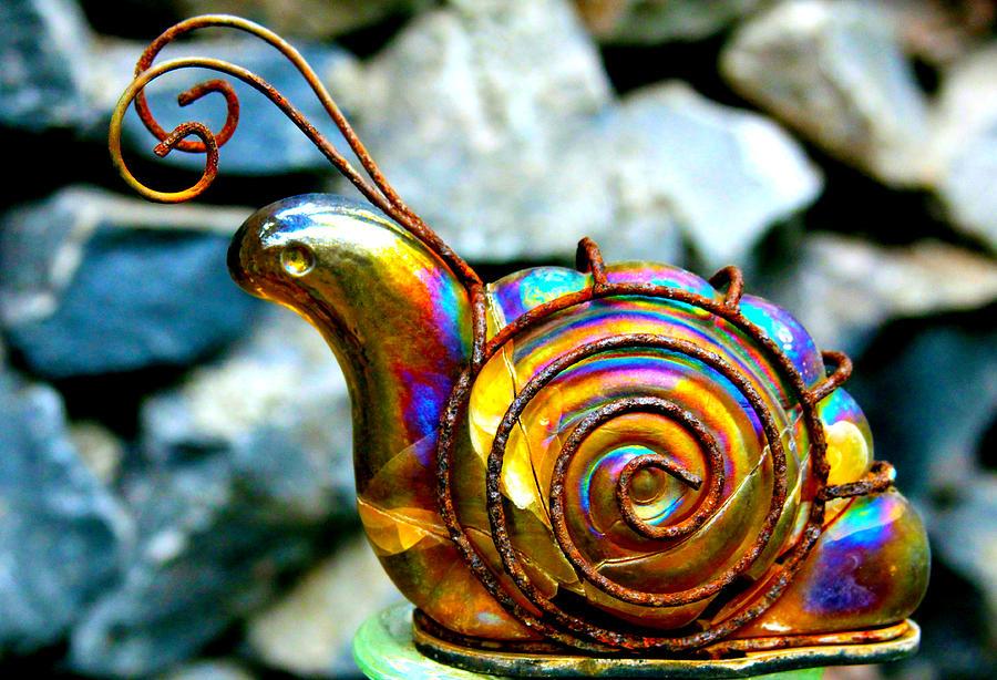 Snail Photograph - Glass Snail Garden Art by Karon Melillo DeVega