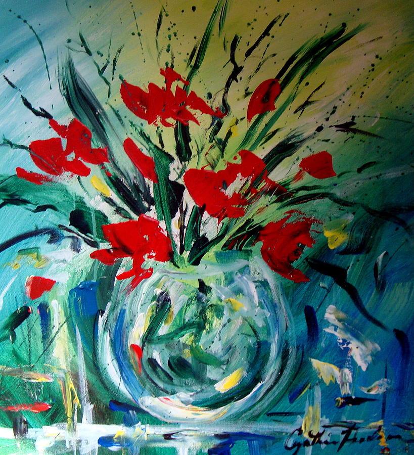 Glass Vase Painting - Glass Vase by Cynthia Hudson