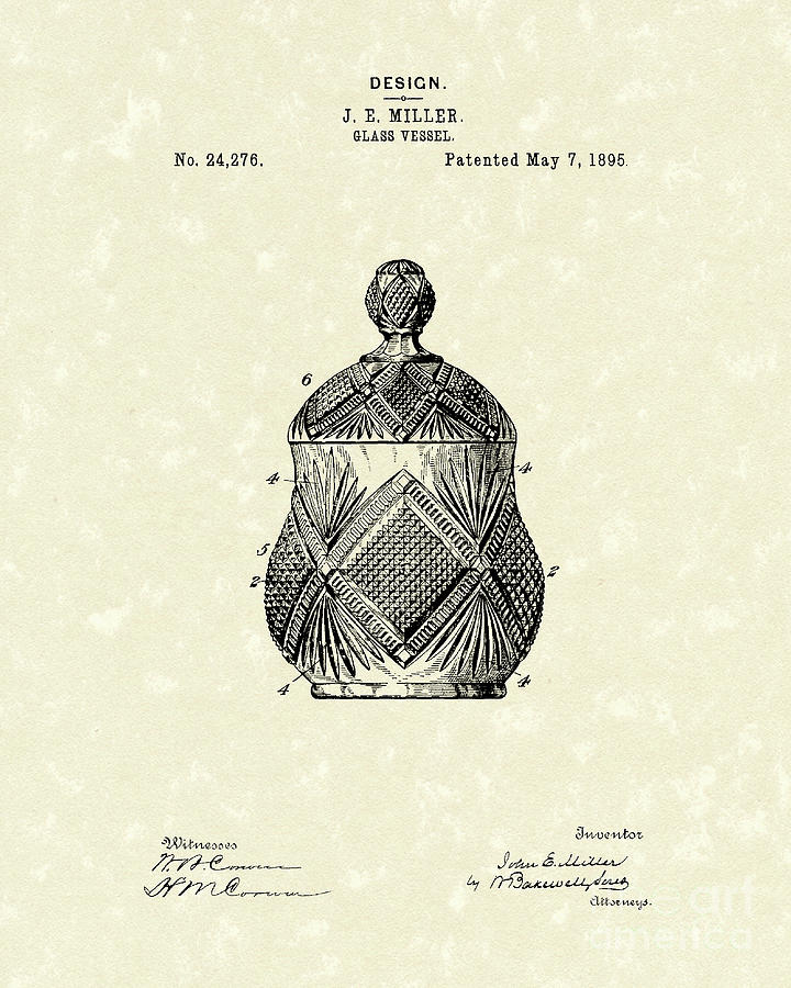 Miller Drawing - Glass Vessel 1895 Patent Art by Prior Art Design