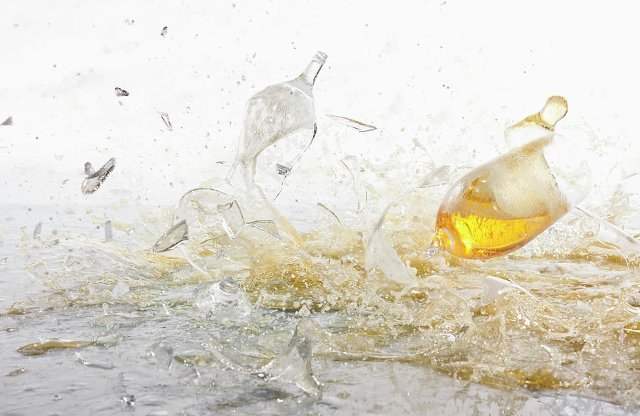 Glasses Of Beer Shattering Photograph by Fstop Images - Dual Dual