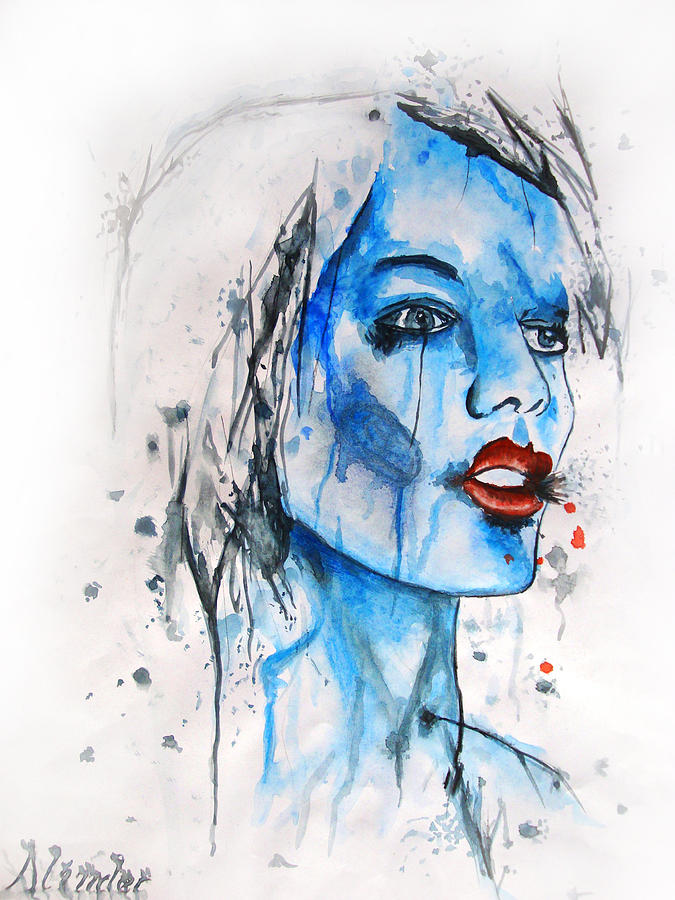 Girl Painting - Glassy Girl by Atinderpal Singh