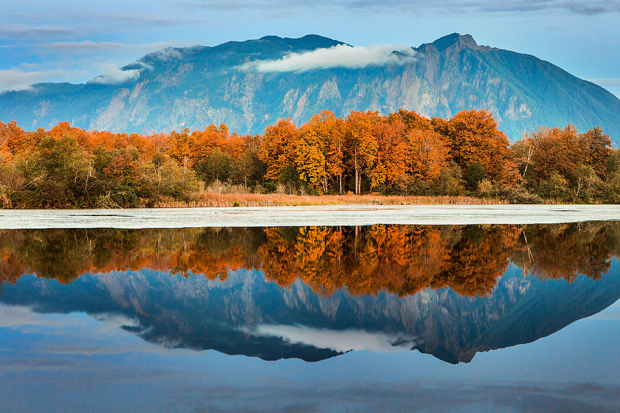 Mount Si Photograph - Glassy Reflections by Manju Shekhar