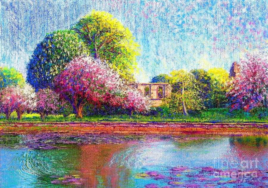 Spring Painting - Glastonbury Abbey Lily Pool by Jane Small