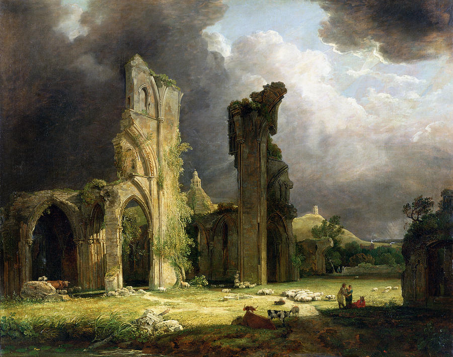 Ruins Painting - Glastonbury Abbey With The Tor by George Arnald