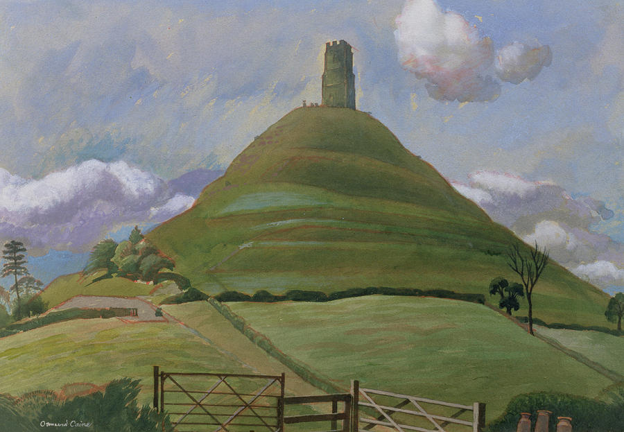 Landscape Drawing - Glastonbury Tor by Osmund Caine