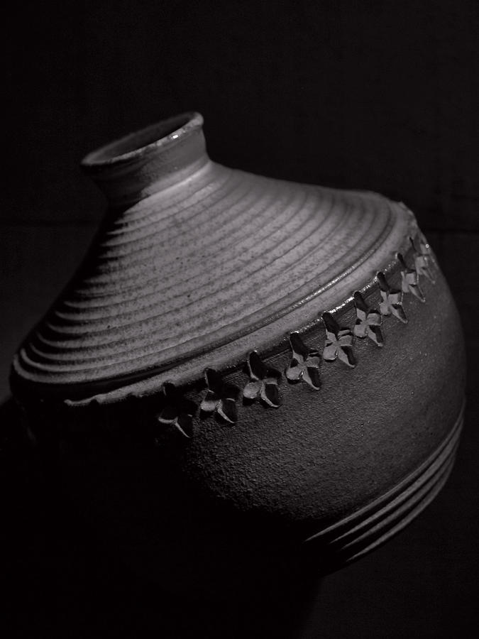 Pottery Photograph - Glazed-black And White by Tom Druin