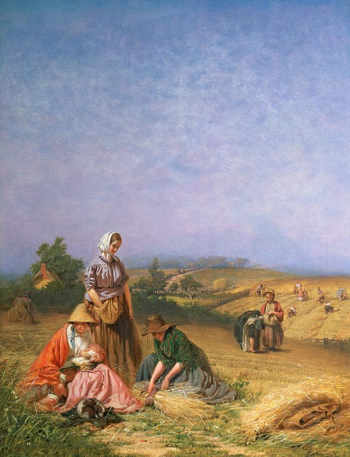 Children Painting - Gleaning by George Elgar Hicks