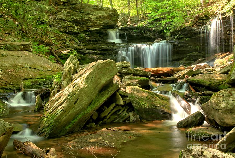 Ricketts Glen Photograph - Glen Leigh Cascades by Adam Jewell