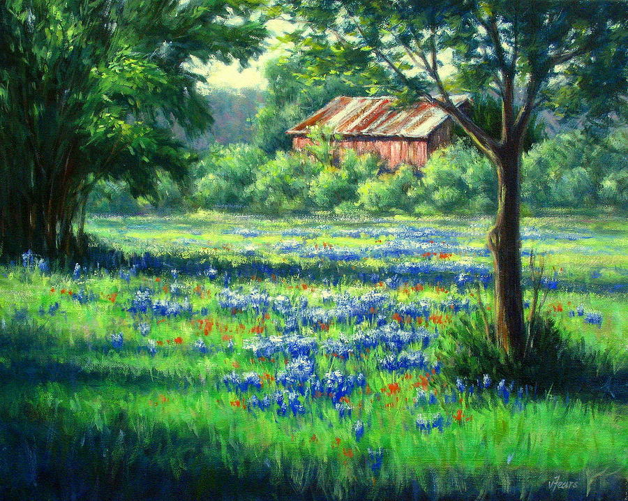 Bluebonnets Painting - Glen Rose Bluebonnets by Vickie Fears