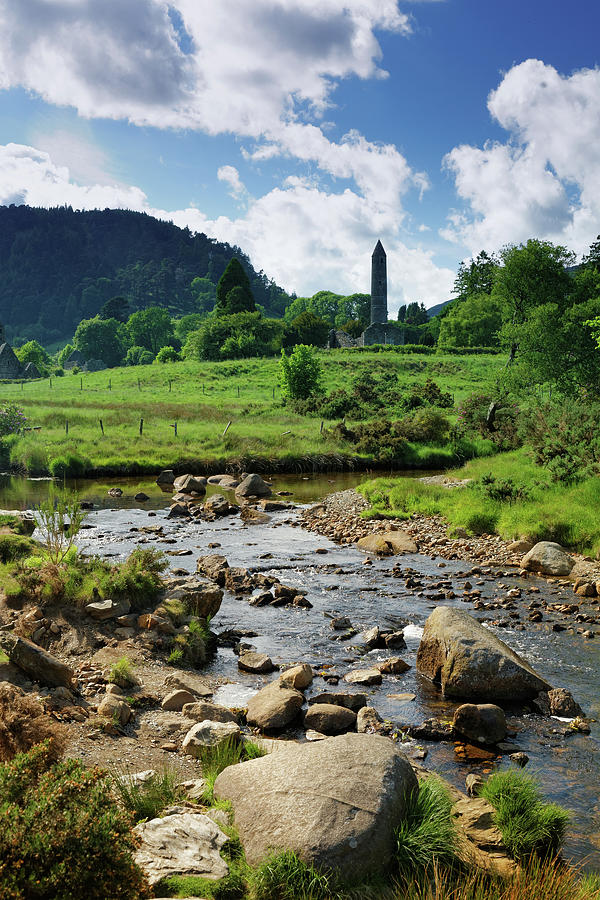 Scenic Photograph - Glendalough Creek With The Old Monastic by Mammuth
