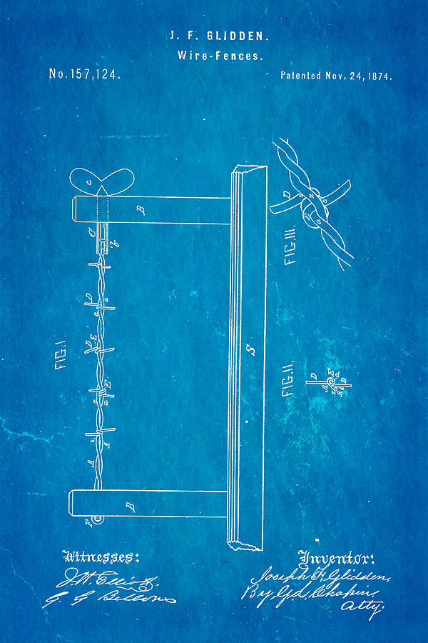 Glidden Barbed Wire Patent Art 1874 Blueprint Photograph by Ian Monk