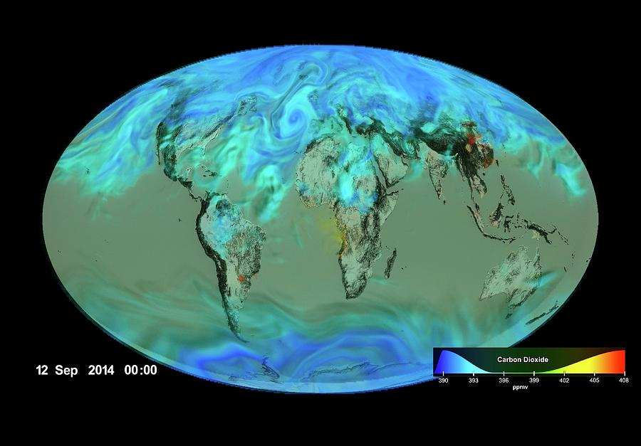 Earth Photograph - Gloabl Carbon Dioxide Sinks by Nasas Scientific Visualization Studio/science Photo Library