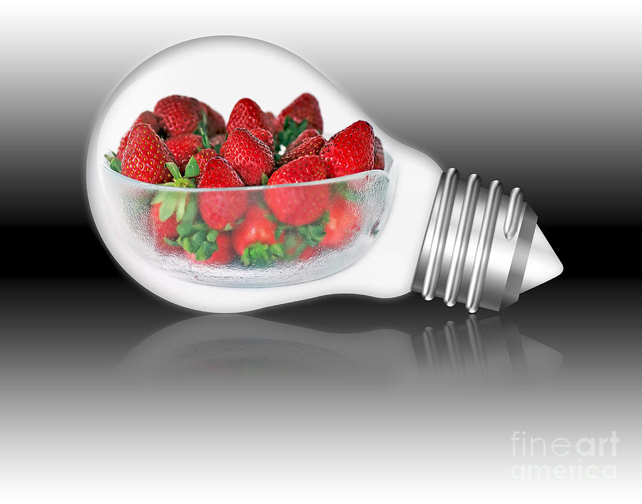 Light Globe Photograph - Global Strawberries by Kaye Menner