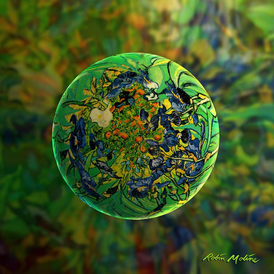 Irises Digital Art - Globing Earth Irises by Robin Moline