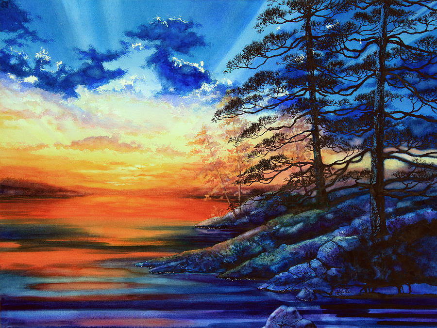 Glorious Lake Sunset Painting By Hanne Lore Koehler