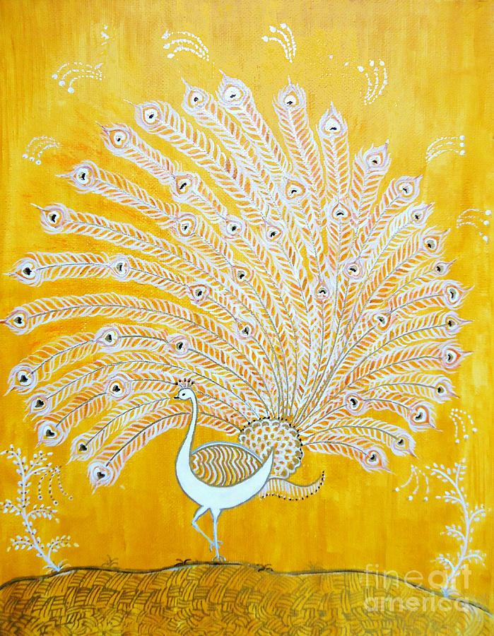 Golden Peacock Painting - Glory by Anjali Vaidya