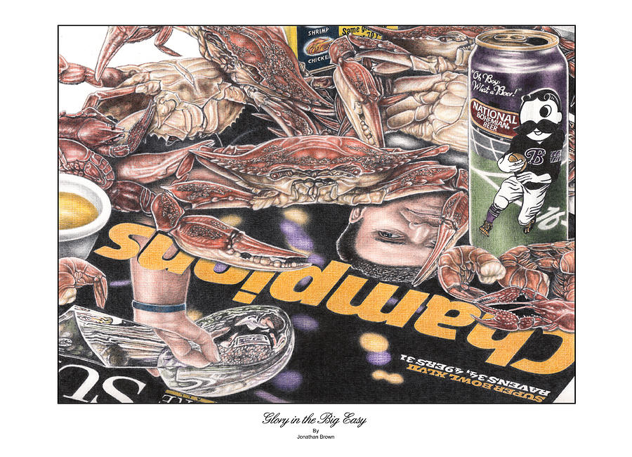 Superbowl Drawing - Glory In The Big Easy by Jonathan W Brown
