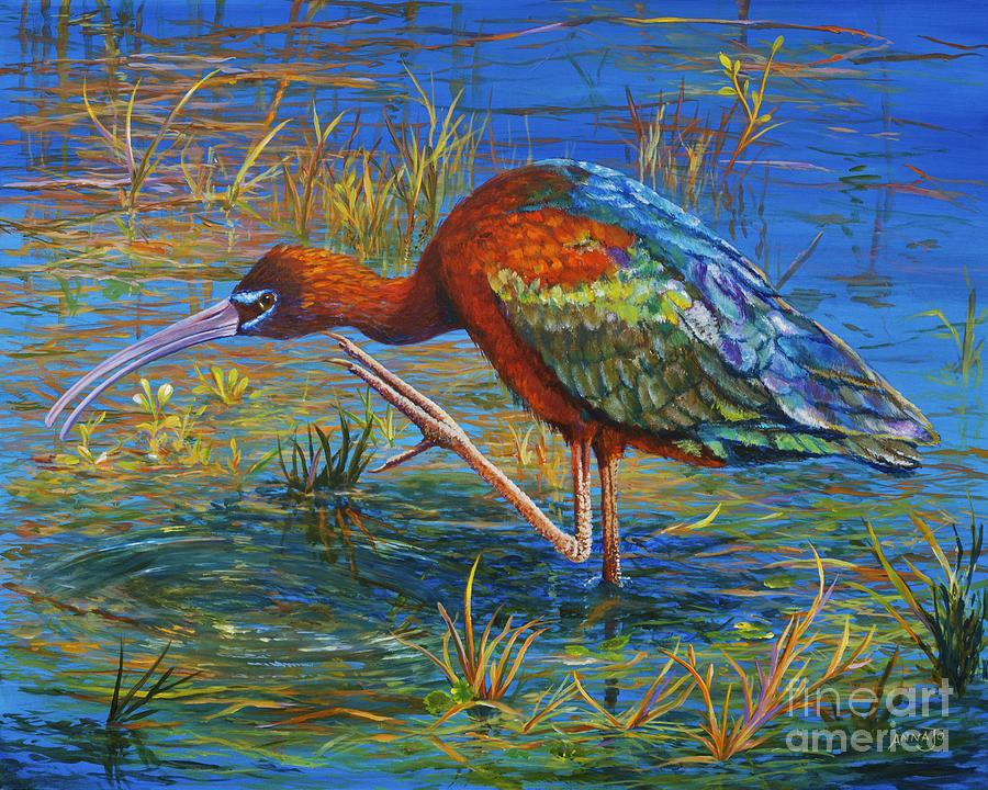 Migration Painting - Glossy Ibis by AnnaJo Vahle