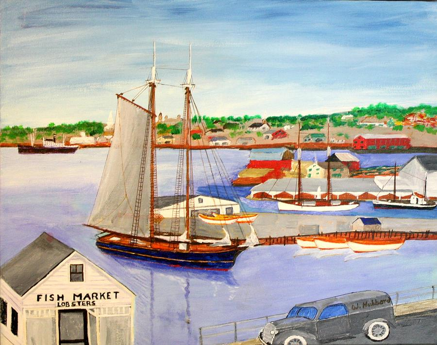 1939 Painting - Gloucester Fish Mkt. And Schooners 1939 by Bill Hubbard