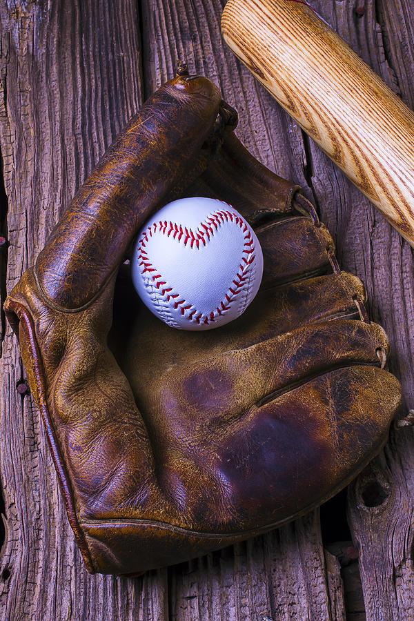 Glove Photograph - Glove And Heart Baseball by Garry Gay