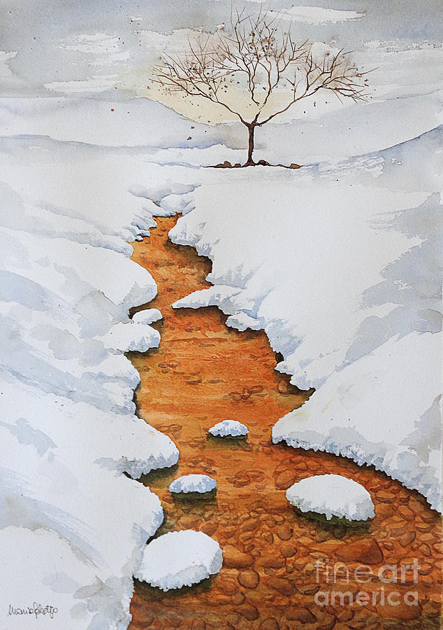 Landscapes Painting - Glow in the snow by Marisa Gabetta