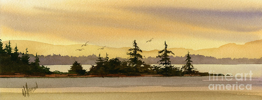 Landscape Fine Art Print Painting - Glow Of Dawn by James Williamson