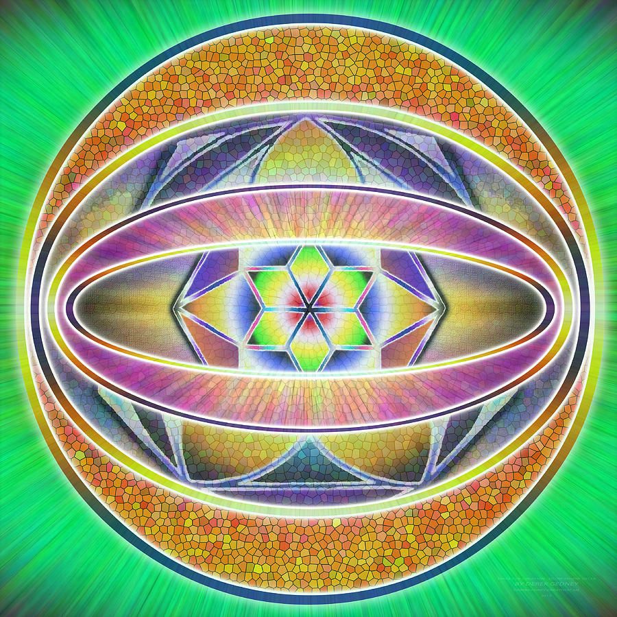 Sacredlife Mandalas Drawing - Glow Sphere Delta by Derek Gedney