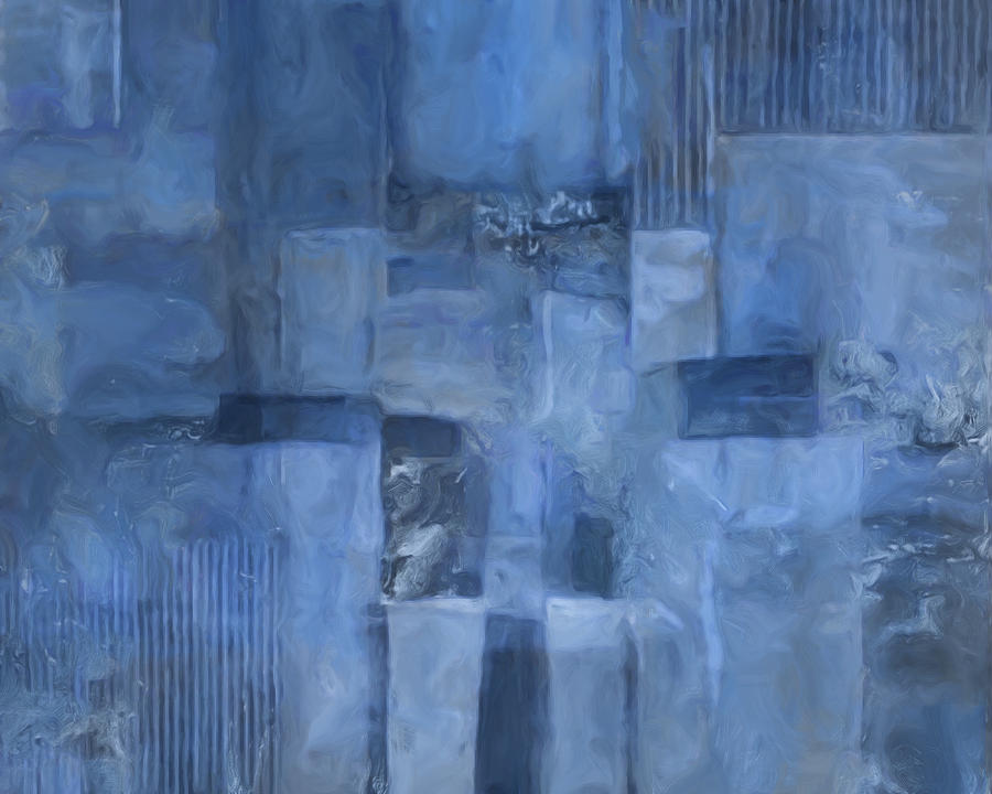 Abstract Painting - Glowing Blues by Lee Ann Asch