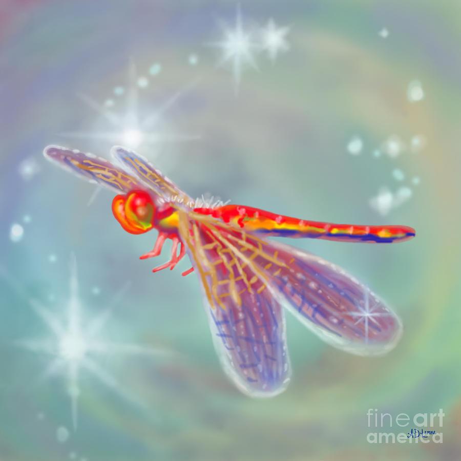 Dragonfly Digital Art - Glowing Dragonfly by Audra D Lemke