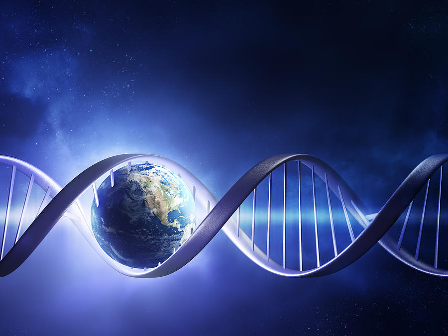 Dna Photograph - Glowing Earth Dna Strand by Johan Swanepoel