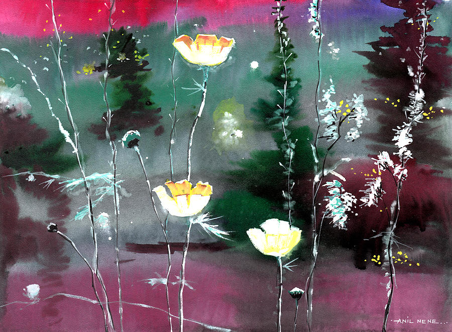 Floral Painting - Glowing Flowers by Anil Nene