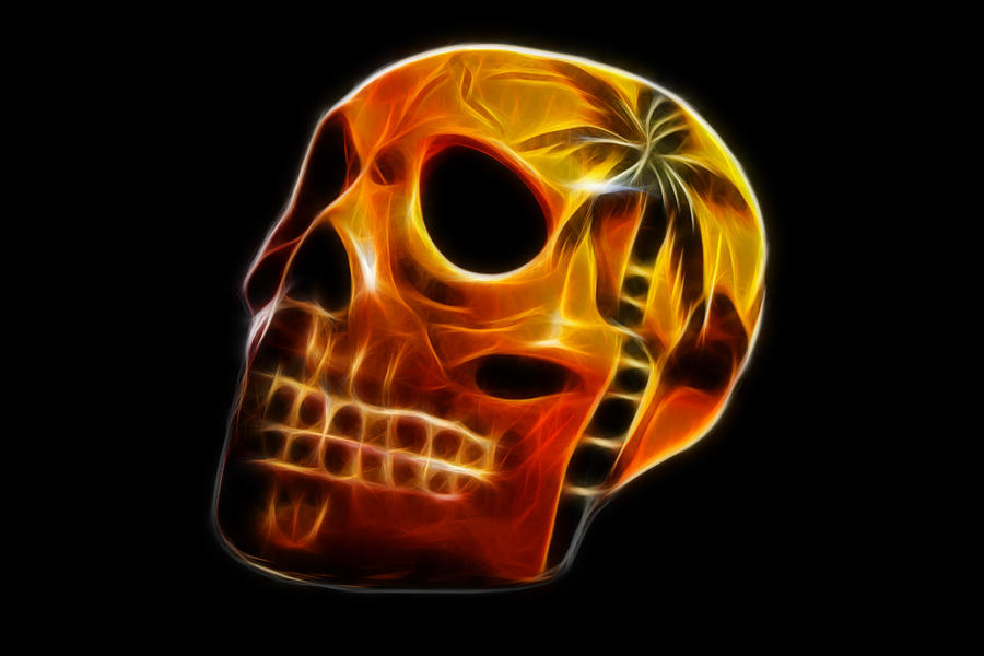 Skull Photograph - Glowing Skull by Shane Bechler