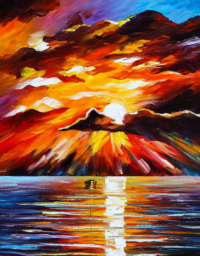 Sea Painting - Glowing Sun by Leonid Afremov