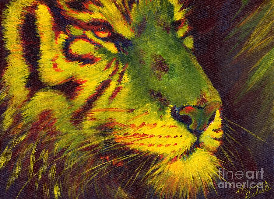 Tiger Painting - Glowing Tiger by Summer Celeste