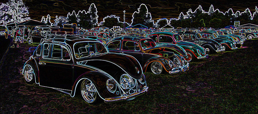 Glow Photograph - Glowing Vw Beetles by Steve McKinzie