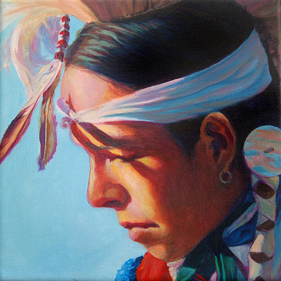 Native American Painting - Glowing youth by Christine Lytwynczuk