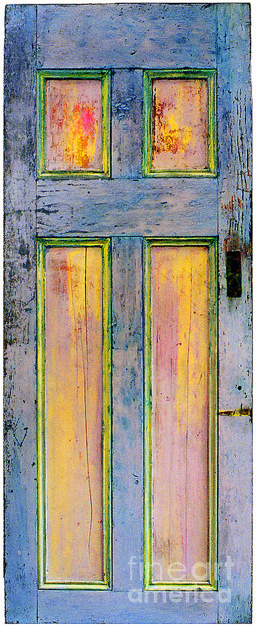 Painted Door Sculpture - Glowingthrough Painted Door by Asha Carolyn Young
