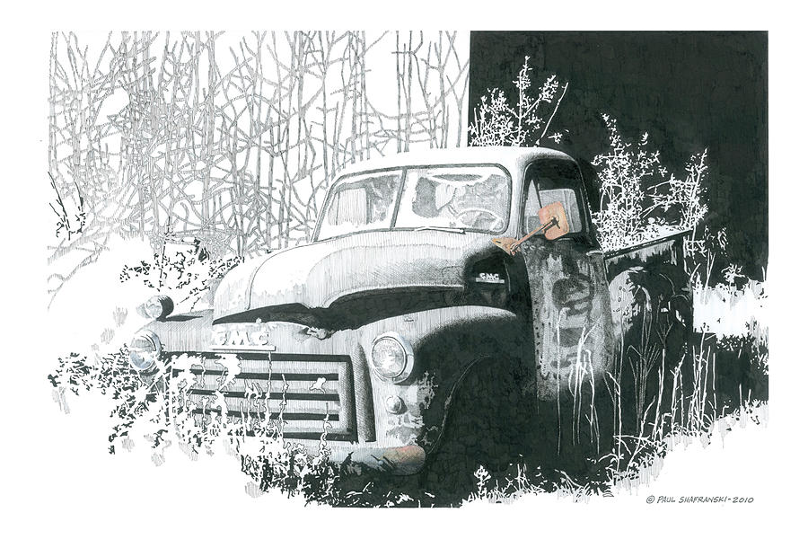 Black And White Drawing - GMC by Paul Shafranski