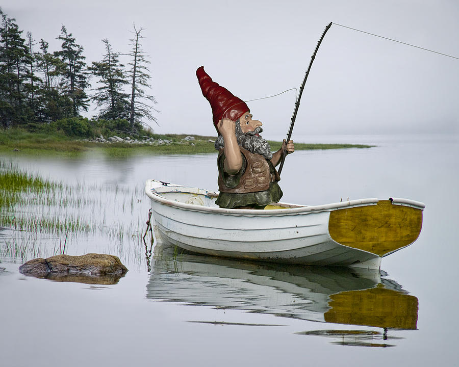 Gnome Fisherman In A White Maine Boat On A Foggy Morning Photograph by Randall Nyhof