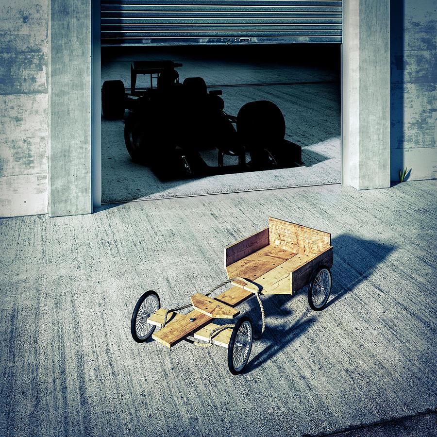 Go-cart And Racing Car Digital Art by Doug Armand