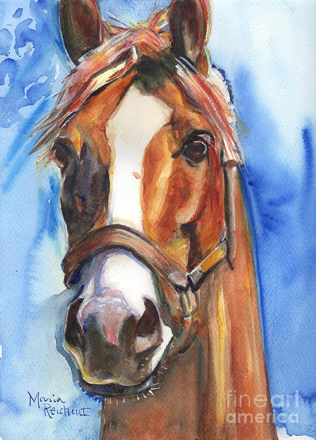 California Chrome Painting - Horse Painting Of California Chrome Go Chrome by Marias Watercolor