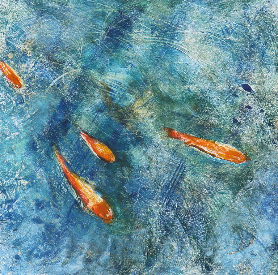 Gold Fish Painting - Go Fish by Valerie Lynch