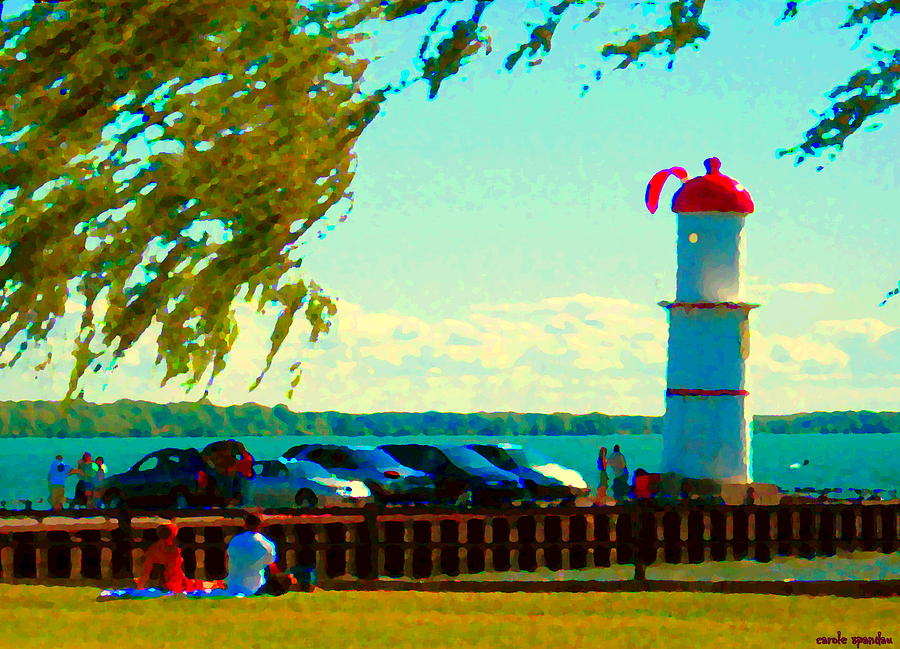 Montreal Painting - Go Fly A Kite Off A Short Pier Lachine Lighthouse Summer Scene Carole Spandau Montreal Art  by Carole Spandau