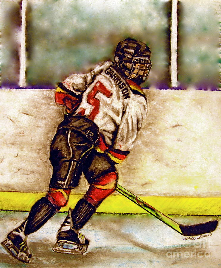 Ice Hockey Pastel - Go Garrison    by Linda Simon