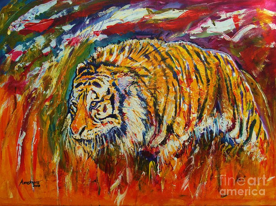 Tiger  Painting - Go Get Them Tiger by Anastasis  Anastasi