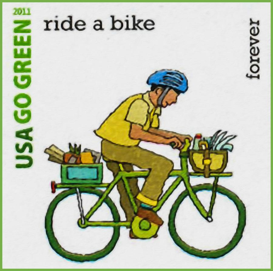 Go Green Ride A Bike Painting By Lanjee Chee