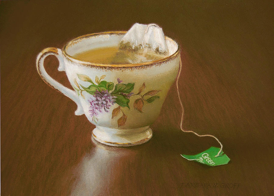 Teacup Painting - Go Green Tea by Barbara Groff